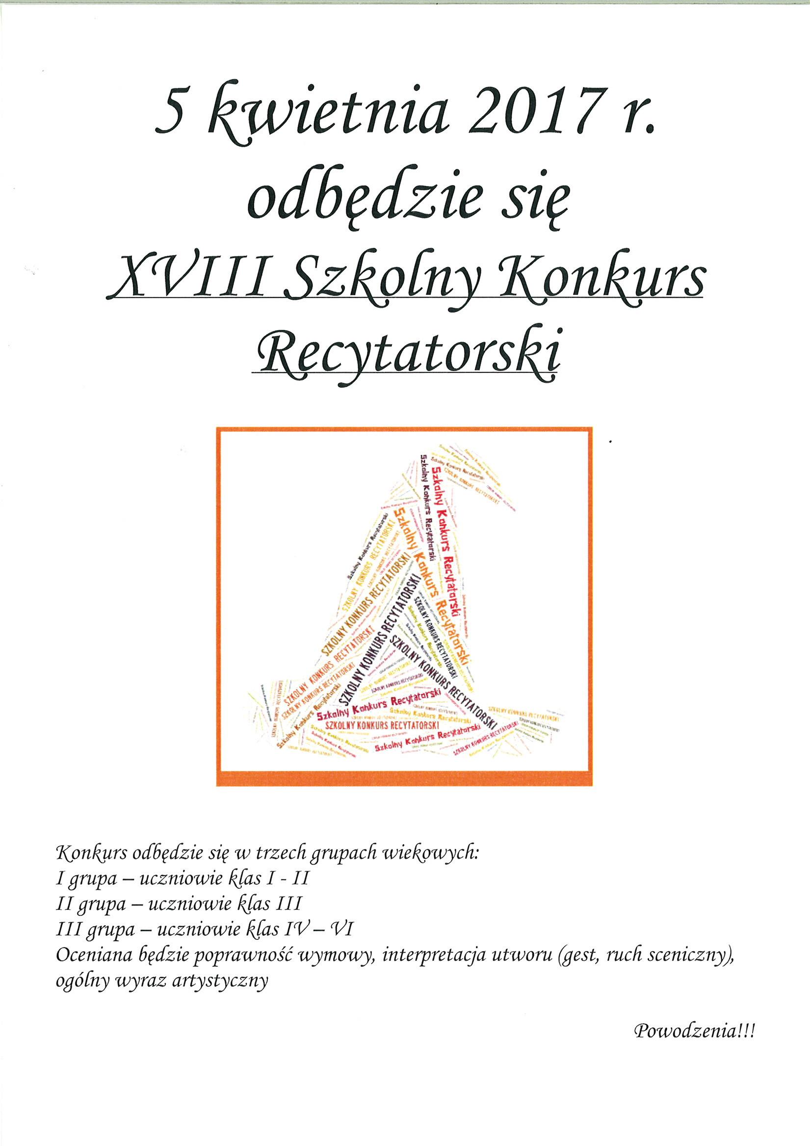 Konkurs Recytatorski Zespół Szkolno Przedszkolny W Piasku