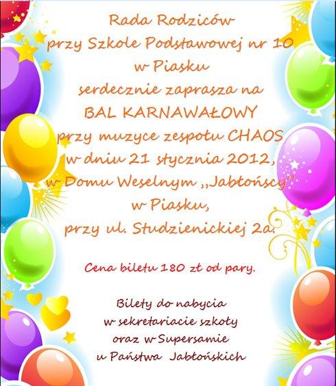 Zaproszenie Na Bal Karnawałowy Zespół Szkolno Przedszkolny W Piasku
