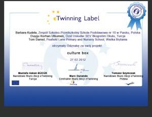 Certyfikat Culture Box 2012