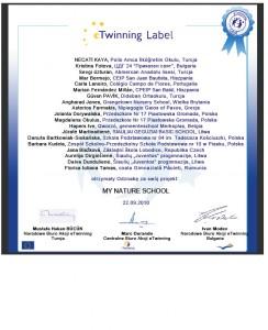 Certyfikat My nature school 2010