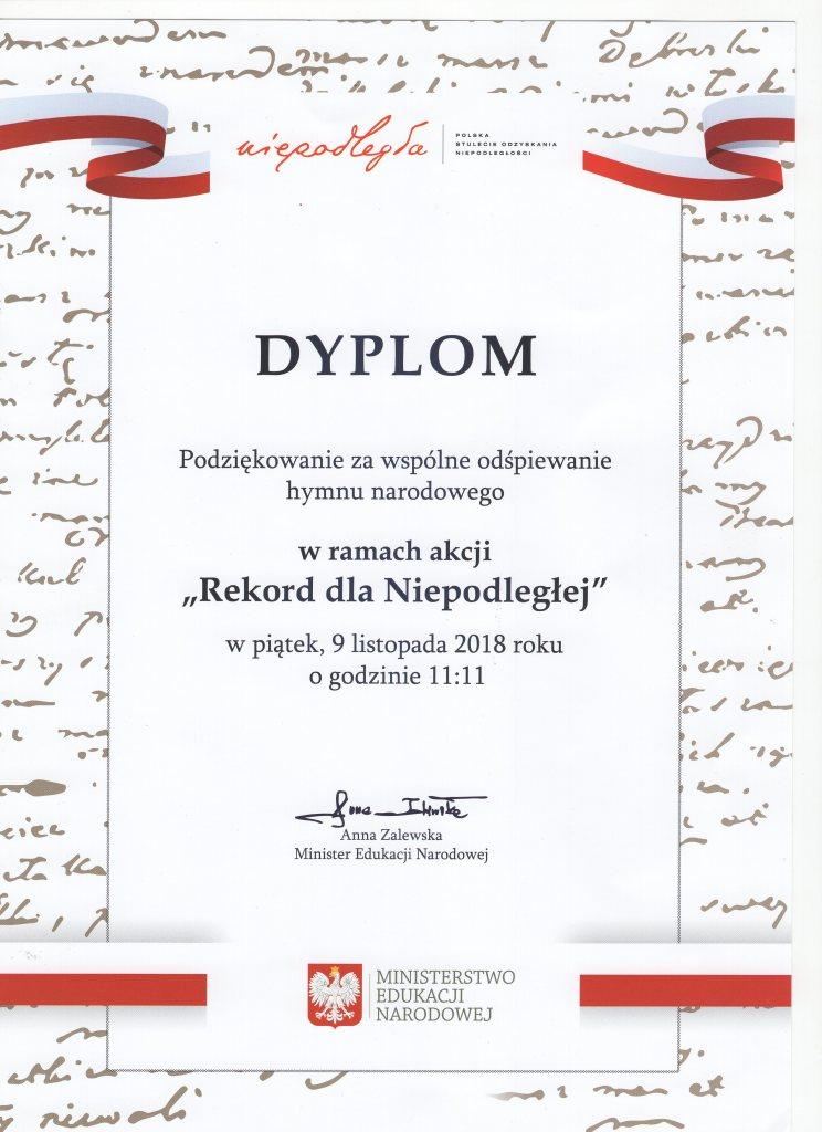 Dyplom Rekord dla Niepodległej021