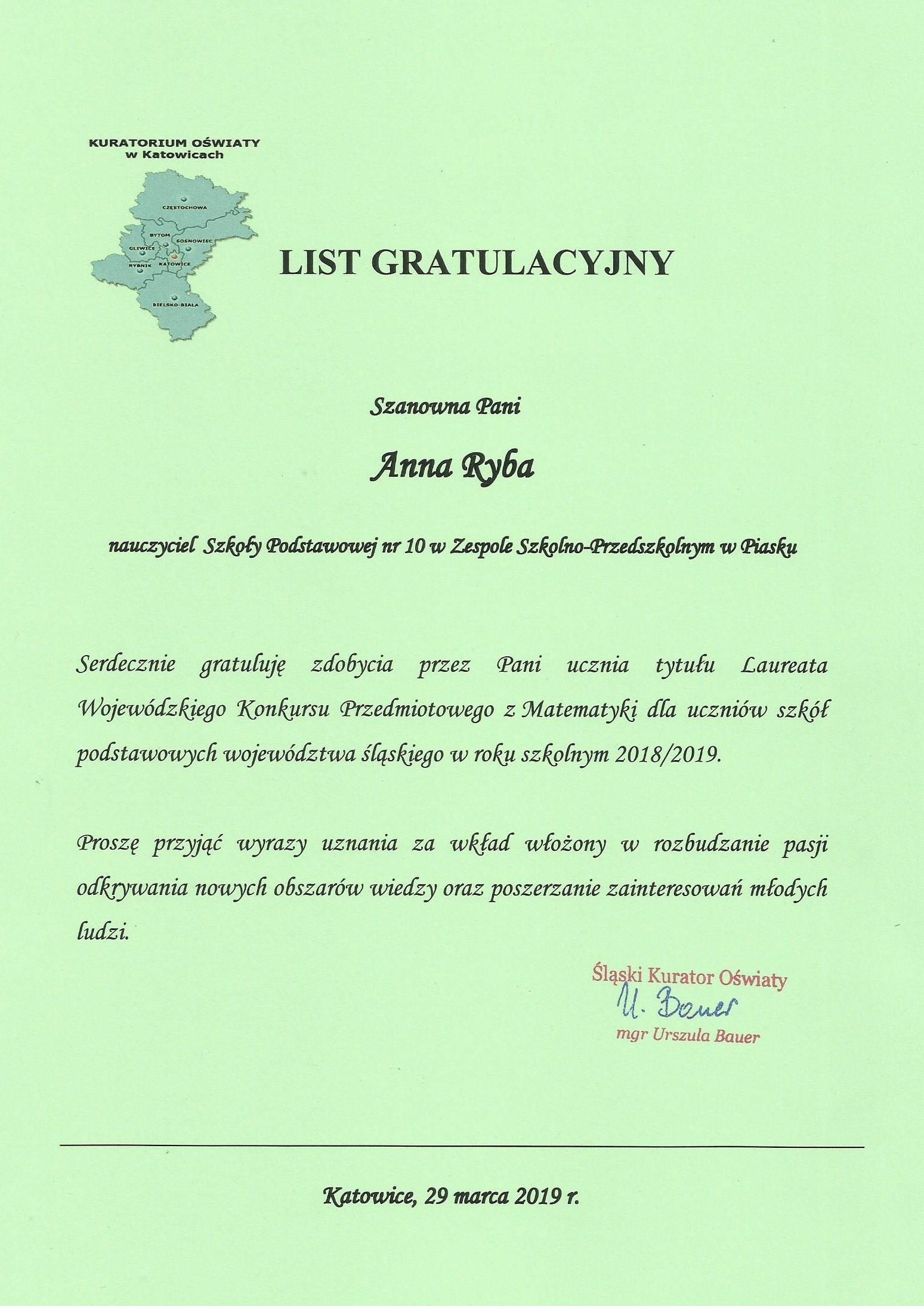List gratulacyjny WKP