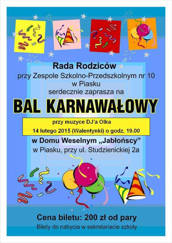 Zaproszenie Na Zabawę Organizowaną Przez Radę Rodziców Zespół