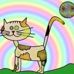 kot z tęczą